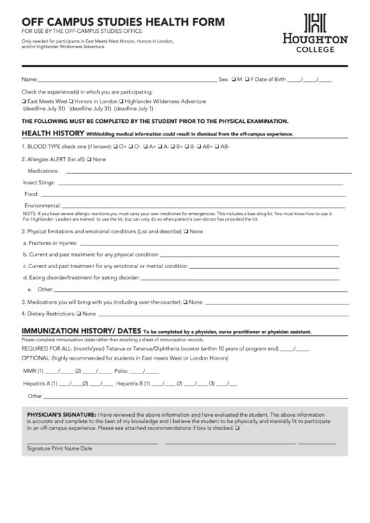 Off Campus Studies Health Form - Houghton College
