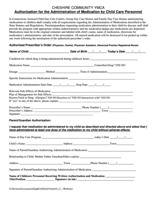 Authorization For The Administration Of Medication Form - Cheshire Community Ymca Printable pdf