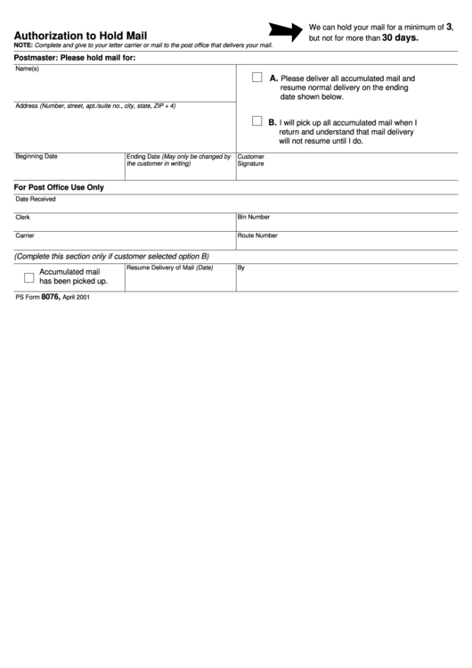 ps form 8076 - authorization to hold mail