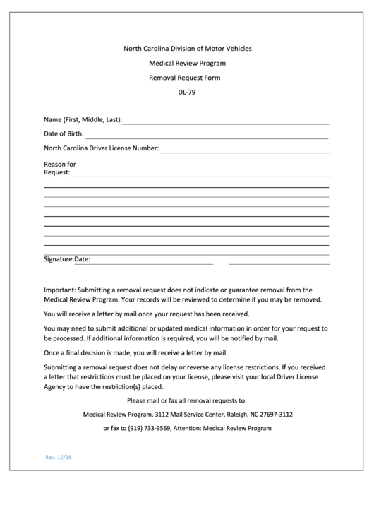 Form Dl-79 - Removal Request Form - Medical Review Program - North Carolina Division Of Motor Vehicles Printable pdf