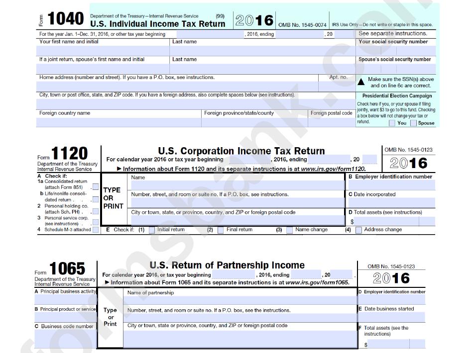 Form 1040 - U.s. Individual Income Tax Return - 2016