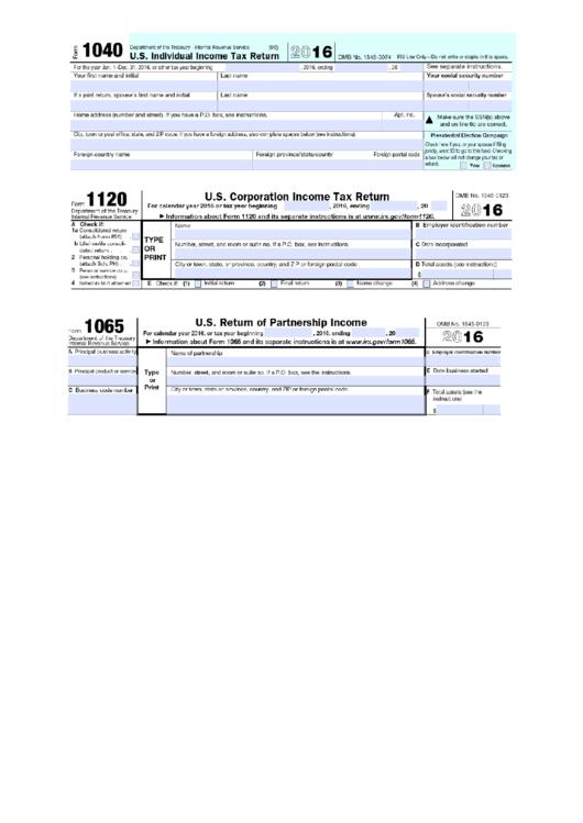 Form 1040 - U.s. Individual Income Tax Return - 2016 Printable pdf