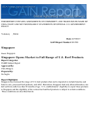 Information For Singapore Opens Market To Full Range Of U.s. Beef Products - 2015