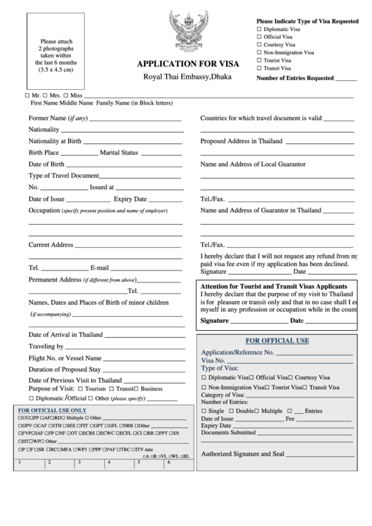 Application For Visa - Royal Thai Embassy, Dhaka Printable pdf