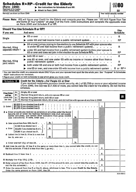 Schedules R & Rp (Form 1040) - Credit For The Elderly - 1980 Printable pdf