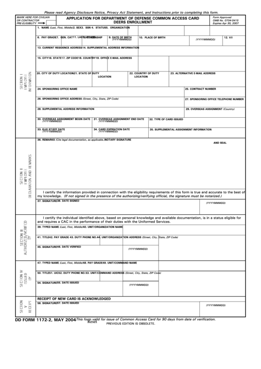 Fillable Dd Form 1172-2 - Application For Department Of Defense Common Access Card Deers Enrollment Printable pdf