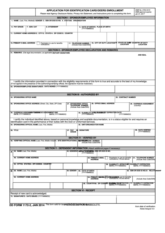Dd Form 1172-2 - Application For Identification Card/deers Enrollment