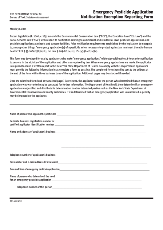 Form Doh-4212 - Emergency Pesticide Application Notification Exemption Reporting Form - New York State Department Of Health Printable pdf