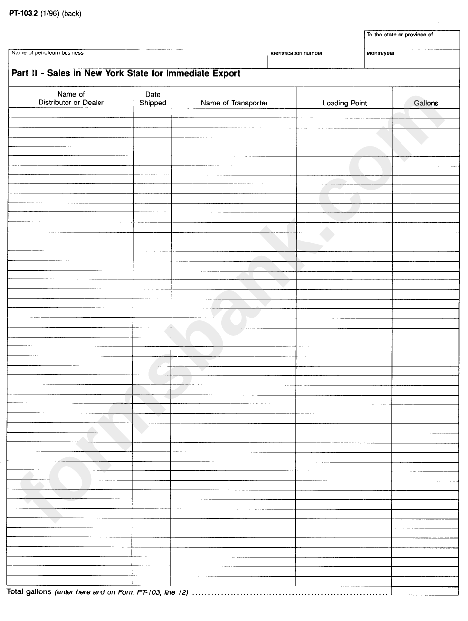Form Pt-103.2 - Rocidual Petroleum Product - Schedule Of Transfers Out Of New York State And Sales In New York State For Immediate Export