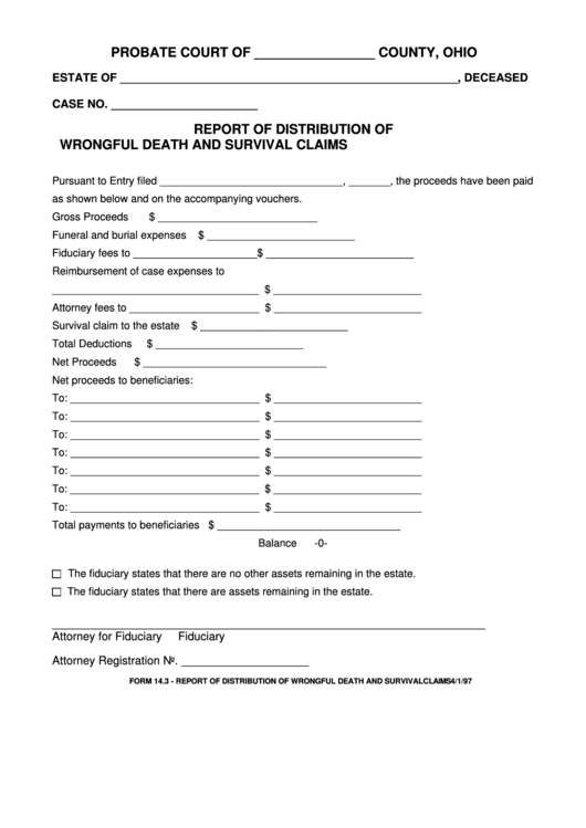 Fillable Form 14.3 - Report Of Distribution Of Wrongful Death And Survival Claims - Ohio Printable pdf