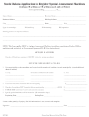 Form Spt 801 - South Dakota Application To Register Special Amusement Machines