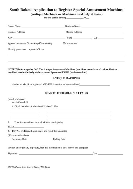 Form Spt 801 - South Dakota Application To Register Special Amusement Machines Printable pdf
