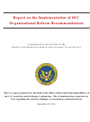 Report On The Implementation Of Sec Organizational Reform Recommendations - U.s. Securities And Exchange Comission - 2011