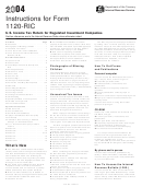Instructions For Form 1120-ric - U.s. Income Tax Return For Regulated Investment Companies - 2004