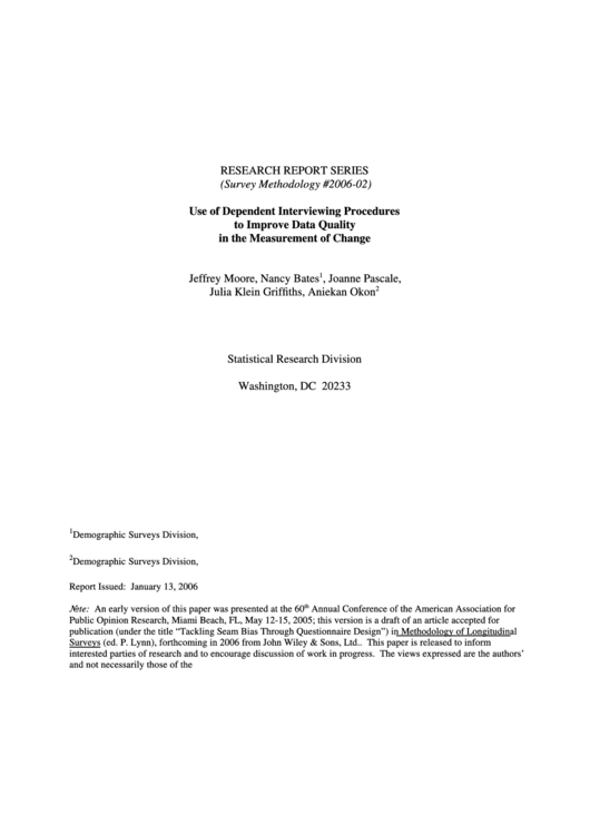Survey Methodology #2006-02 - Use Of Dependent Interviewing Procedures To Improve Data Quality In The Measurement Of Change - U.s. Census Bureau Printable pdf