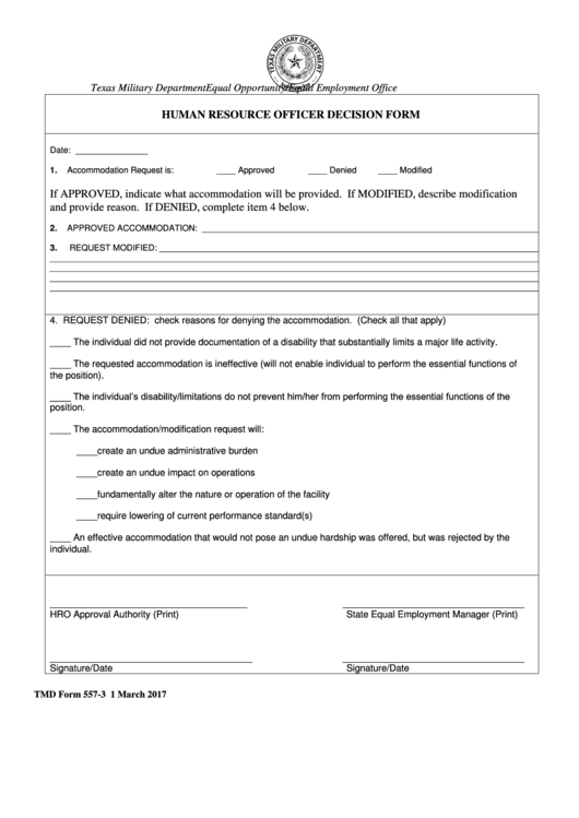 Form 557-3 - Human Resource Officer Decision Form - Texas Military Department