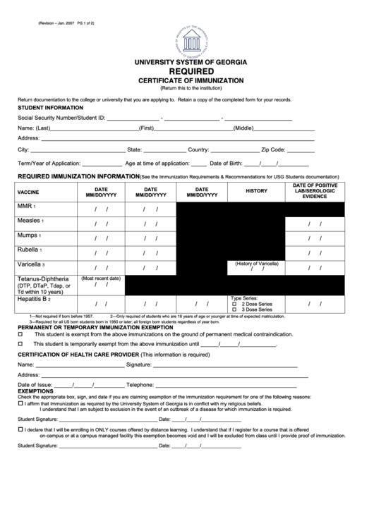 Certificate Of Immunization