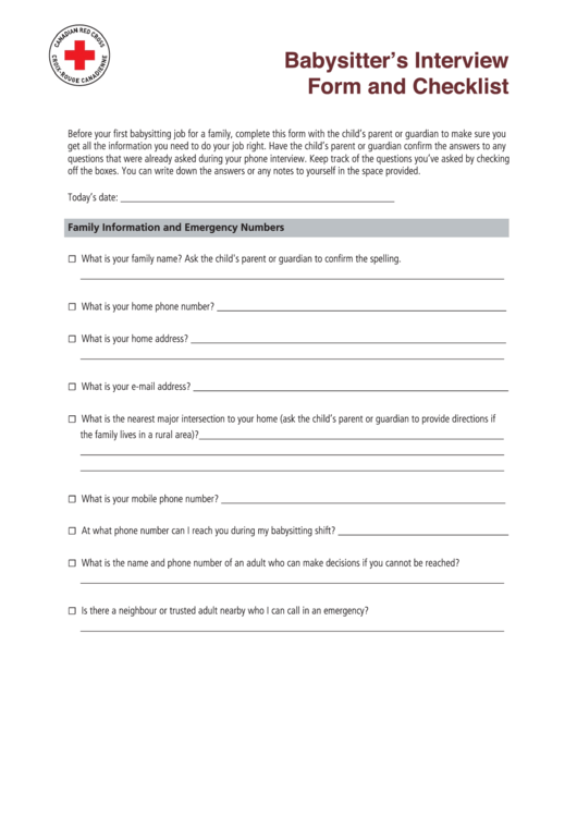 babysitter u0026 39 s interview form and checklist printable pdf