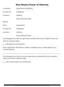 Power Of Attorney Form - New Mexico