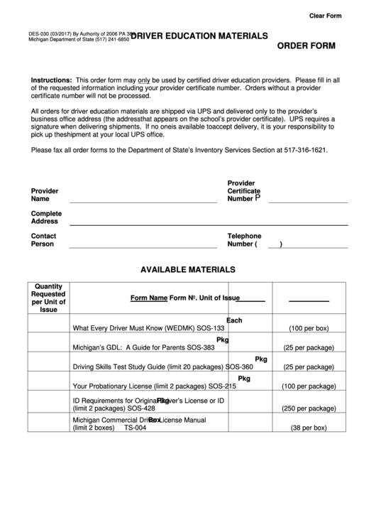 Form Des-030 - Driver Education Materials Order - 2017