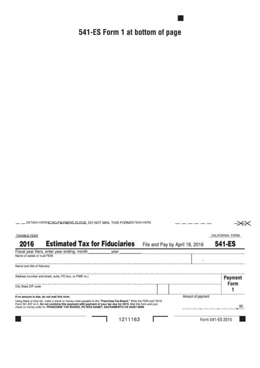 Fillable California Form 541-Es - Estimated Tax For Fiduciaries - 2016 Printable pdf