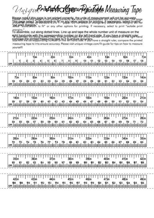 Measuring Tape Template Printable Pdf Download