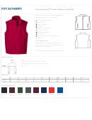 Port Authority Value Fleece Vest F219 Size Chart