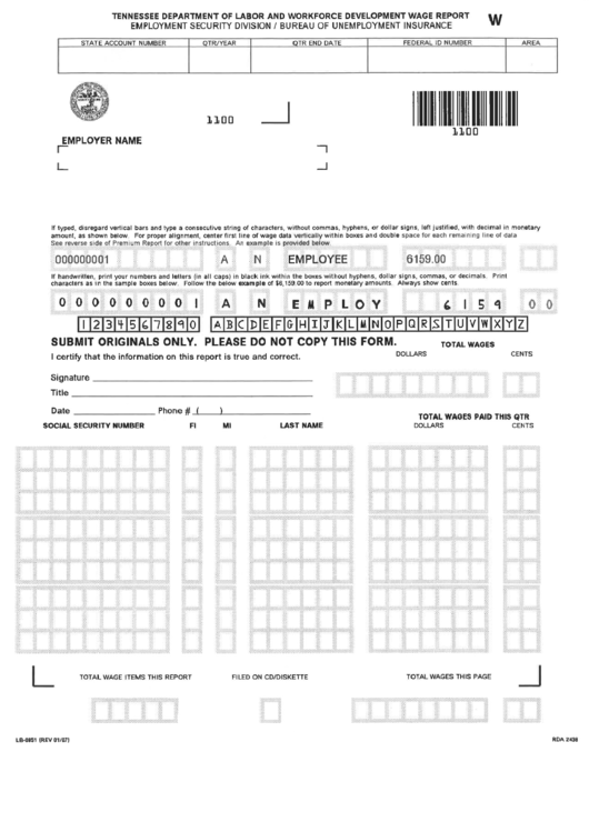 Fillable Form Lb0851 Tennessee