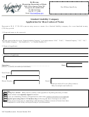 Limited Liability Company Application For Reservation Of Name - Wyoming Secretary Of State - 2015