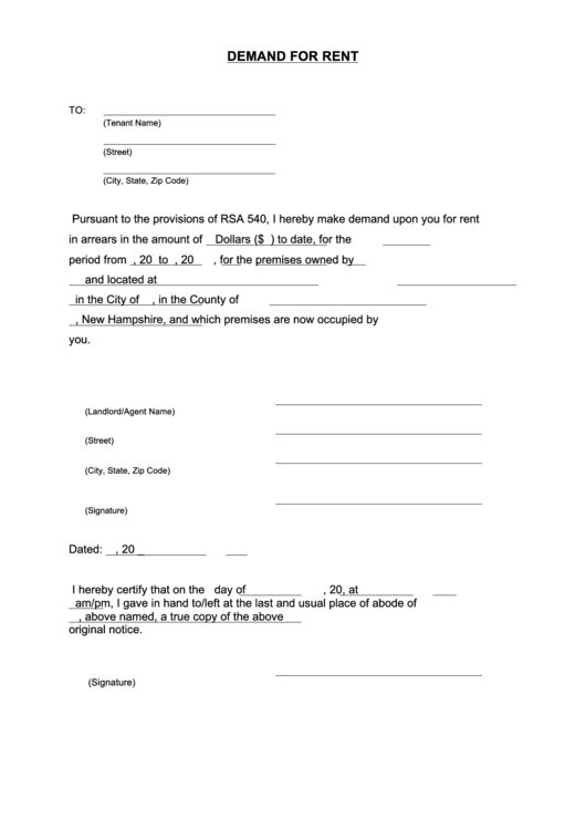 demand for rent payment letter template