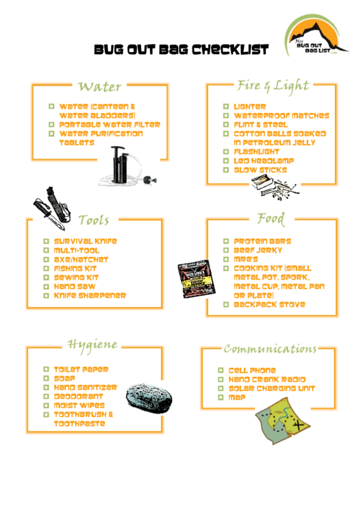 Bug Out Bag Checklist Printable Pdf Download