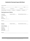 Residential Cleaning Proposal Bid Sheet