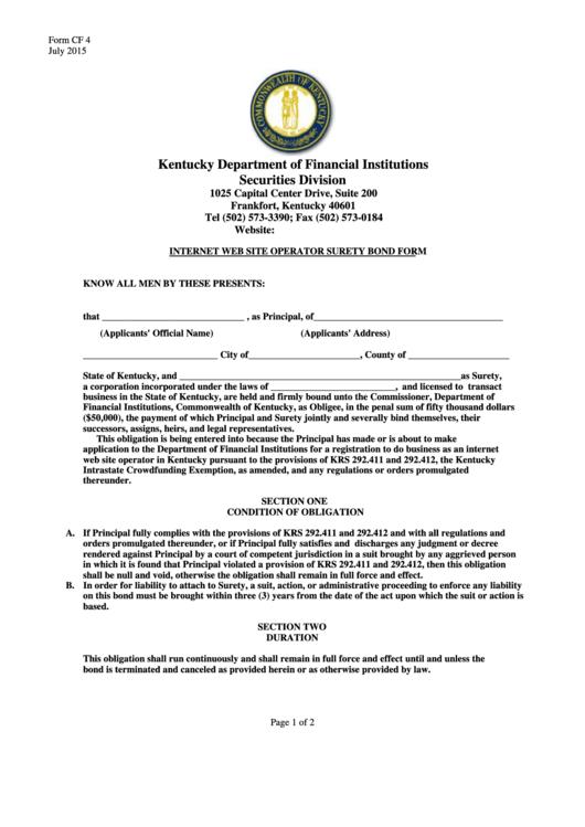 Form Cf 4 - Internet Web Site Operator Surety Bond Form - 2015
