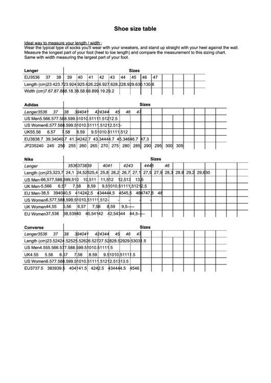 Lenger Adidas Nike Converse Shoe Size Table Chart Printable Pdf