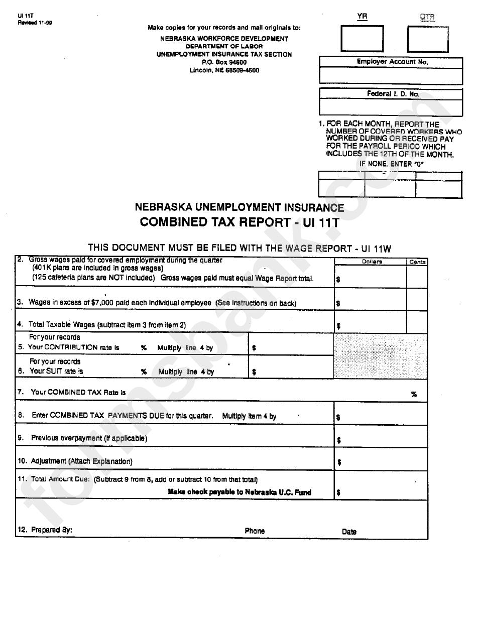 Form Ui11t - Nebaska Unemployment Insurance Combined Tax ...