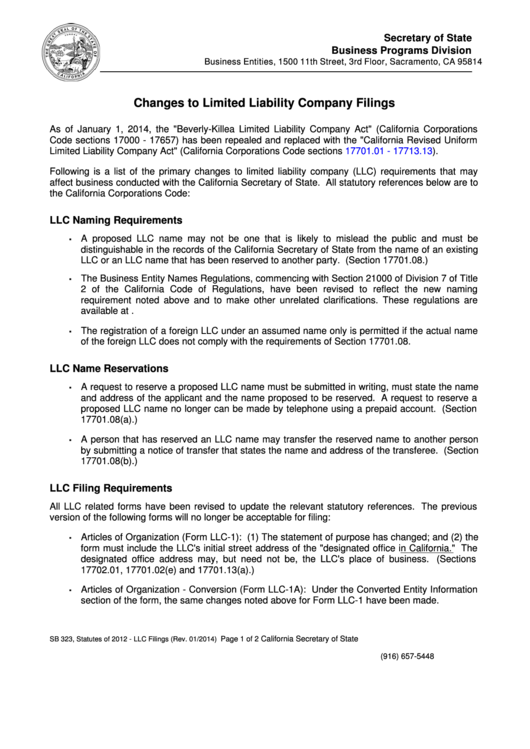 Changes To Limited Liability Company Filings, Changes To California Business Entity Filings, Instructions For Completing Restated Articles Of Organization (Llc-10) - 2014 Printable pdf