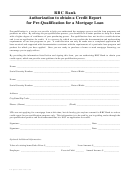 Authorization To Obtain A Credit Report For Pre-qualification For A Mortgage Loan