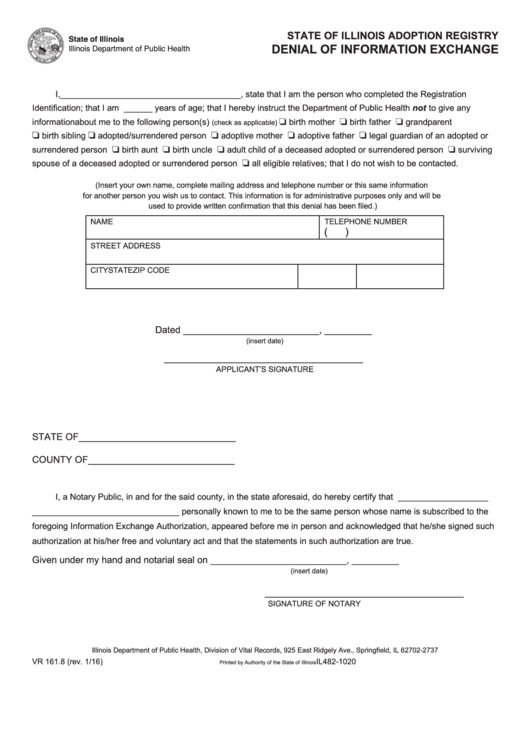 Form Il482-1020 - Denial Of Information Exchange - Illinois Department Of Public Health