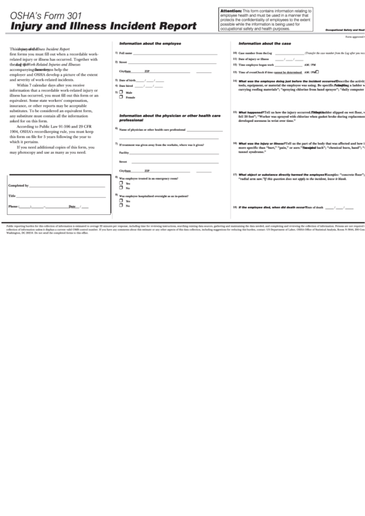 osha u0026 39 s form 301 - injury and illness incident report