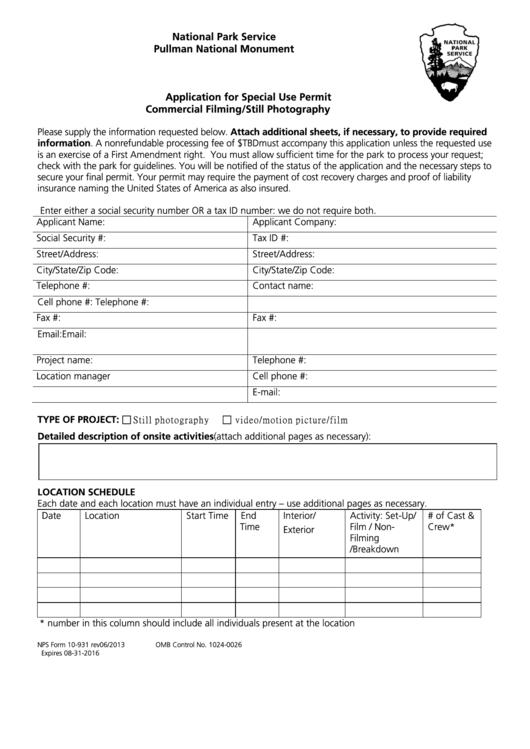 Nps Form 10-931 - Application For Special Use Permit Commercial Filming/still Photography