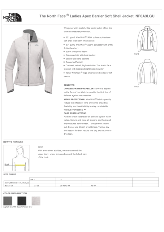 The North Face Ladies Jacket Size Chart printable pdf download