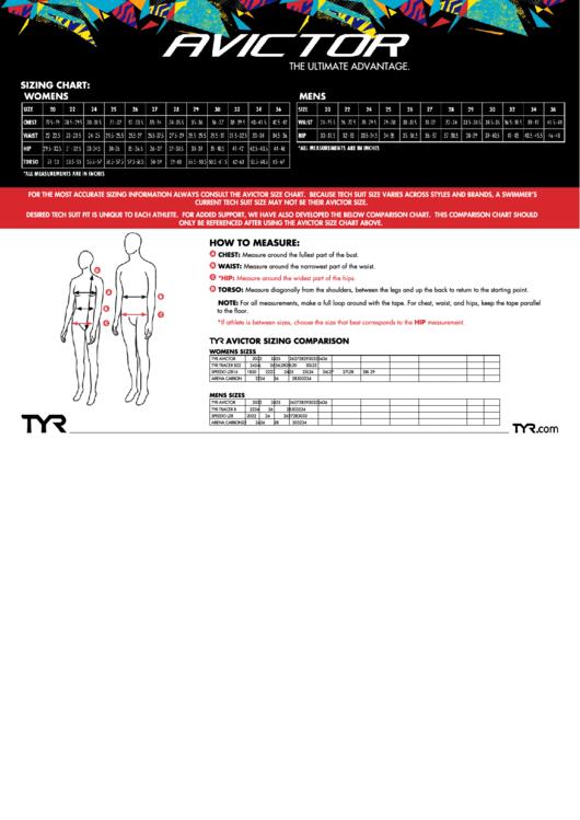 Tyr Avictor Measurement & Sizing Chart