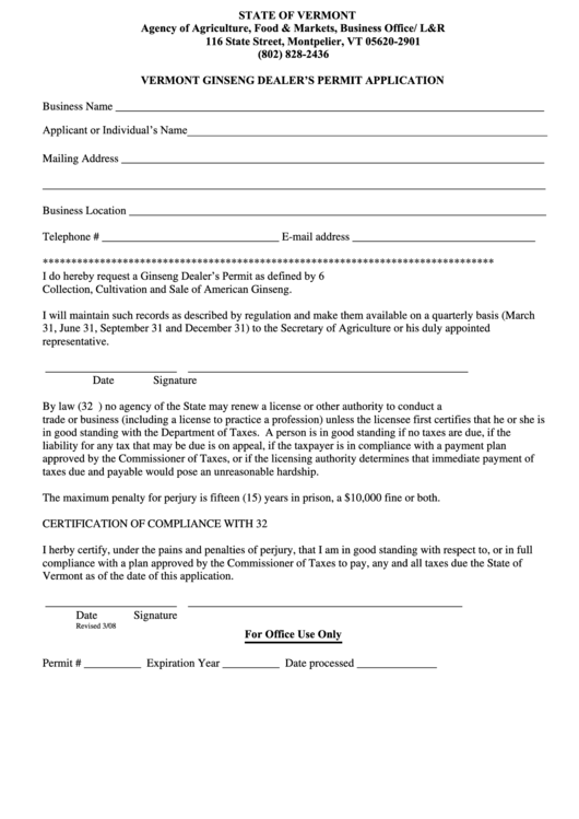 Vermont Ginseng Dealer S Permit Application Form Agency