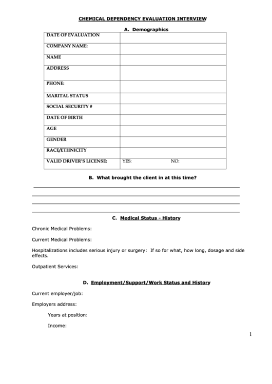 chemical dependency evaluation interview form printable