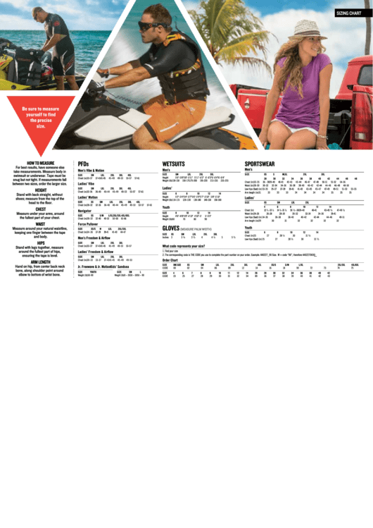 Sizing Chart For Pfds, Wetsuits, Sportswear, Gloves Printable pdf