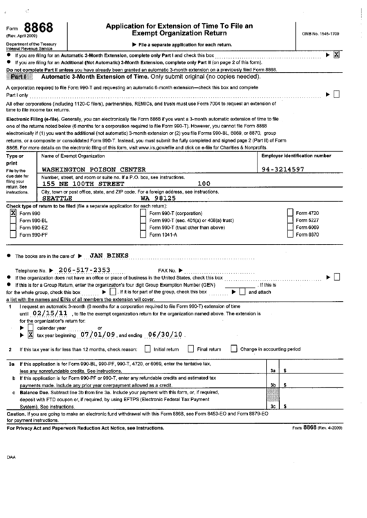 Form 8868 - Application For Extension Of Time To File An Exempt Organization Return - Filing Example (With Form 990 As Filed Return) Printable pdf