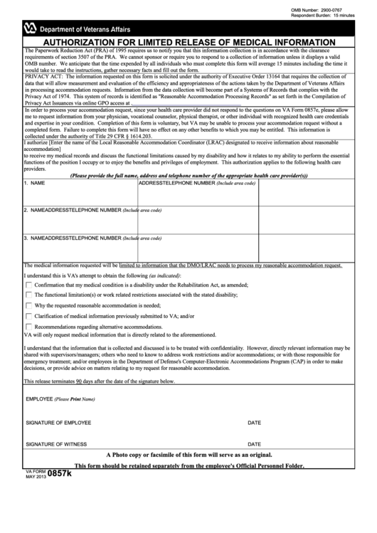 Fillable Form 0857k - Authorization For Limited Release Of Medical Information - Department Of Veteran Affairs - Printable pdf