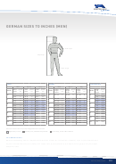 German Sizes To Inches (men) Chart
