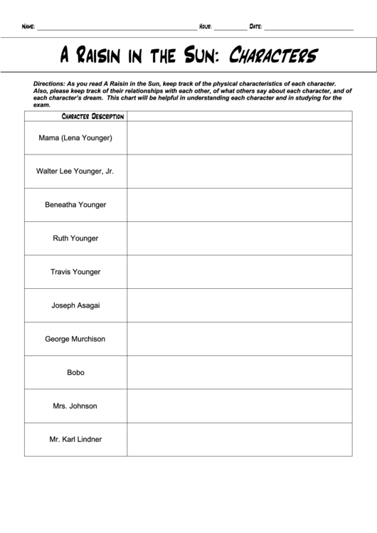a raisin in the sun characters chart printable pdf download