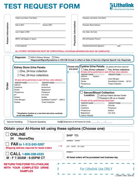 Form Llk0001 - Test Request Form printable pdf download on labcorp standing order form, labcorp test order form, mission order form,